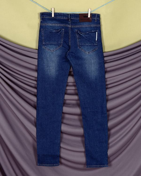 Mid Blue Mid-Rise Distressed Stretchable Jeans