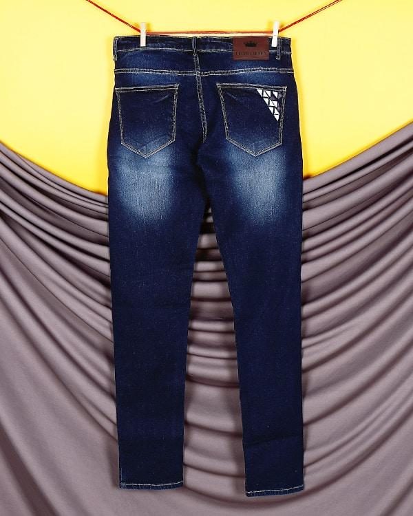 Dark Blue Leather work Stretchable Jeans