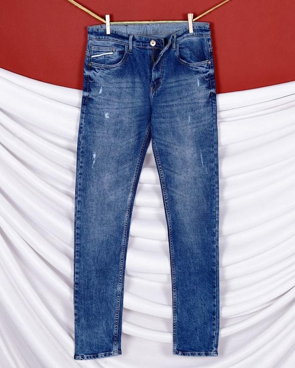 Sky Blue Mid-Rise Distressed Stretchable Jeans
