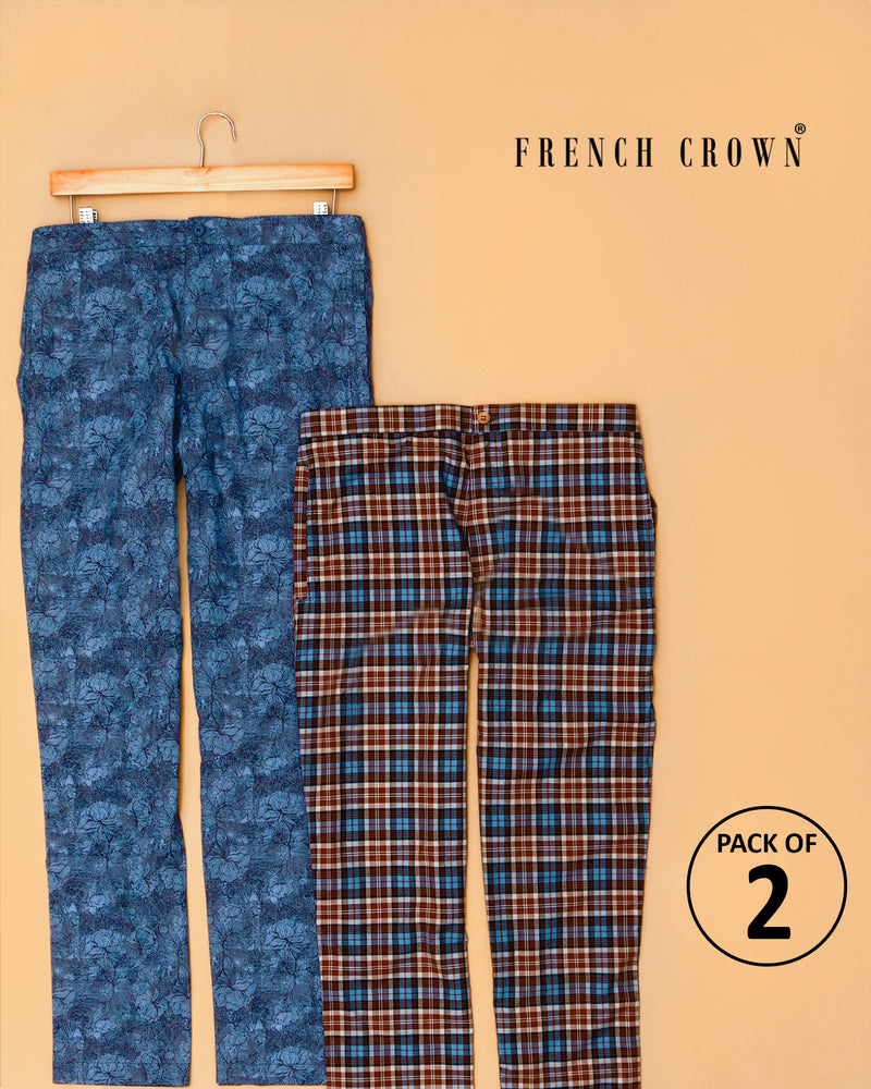 Blue Printed and brown checked Lounge Pants