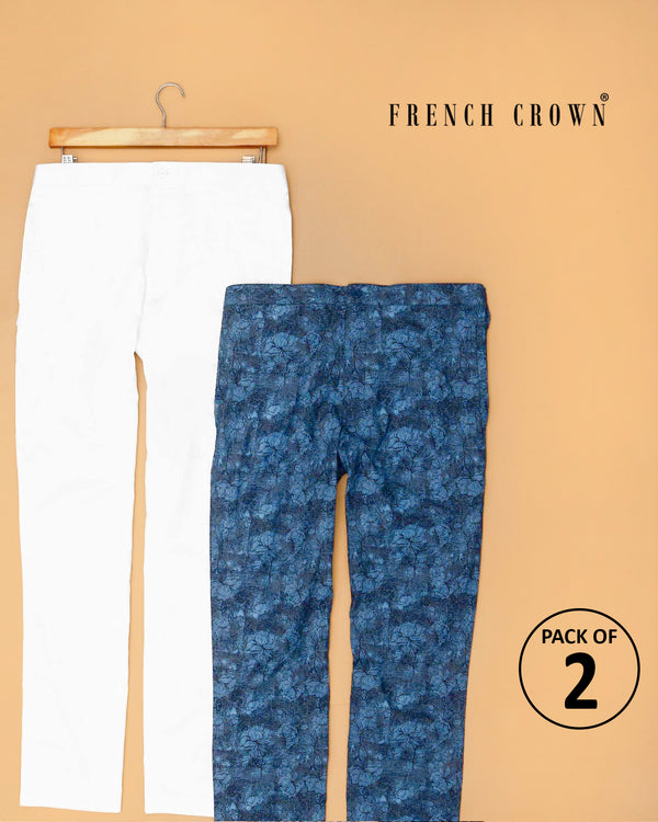 White Solid and Navy Printed Lounge Pants