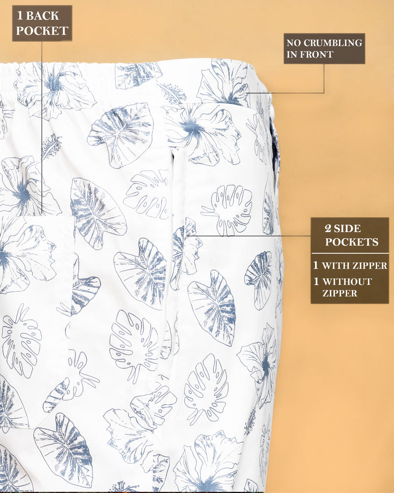 White Tropical Printed Lounge Pant