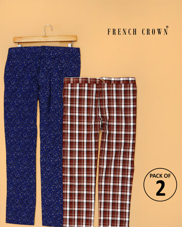 Navy Micro Leaves Printed and Coffee Checked Lounge Pants
