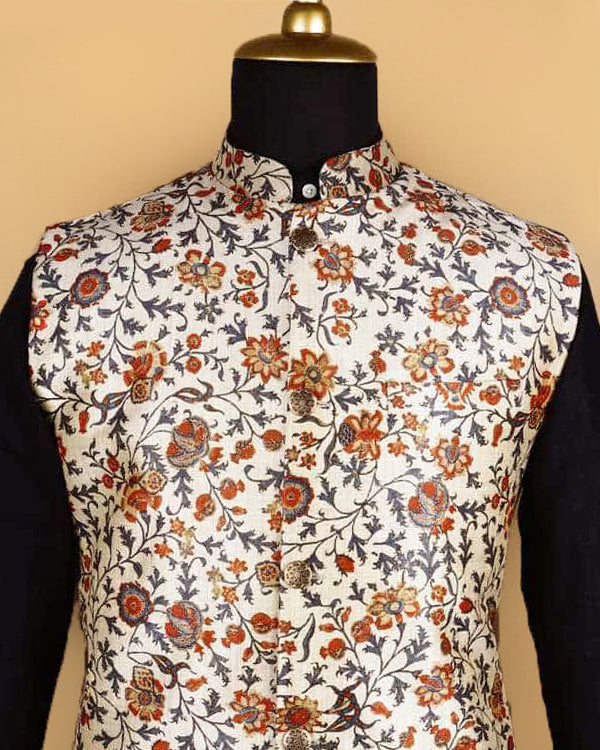 Cream Flower Printed Nehru Jacket