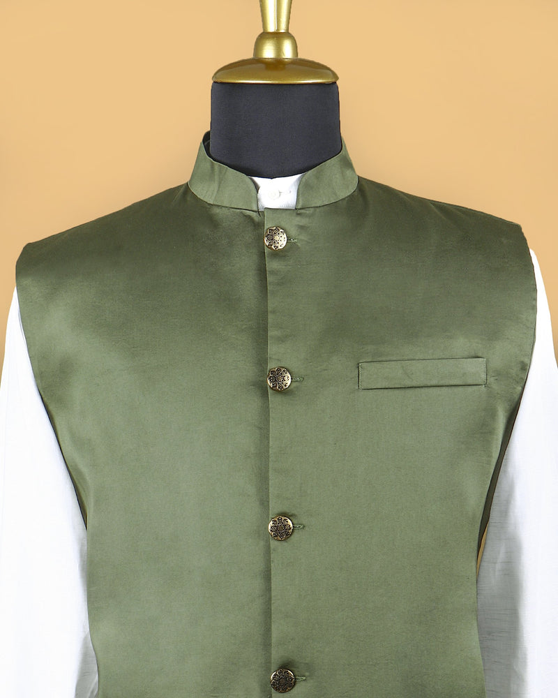 Olive Premium Cotton Nehru Jacket