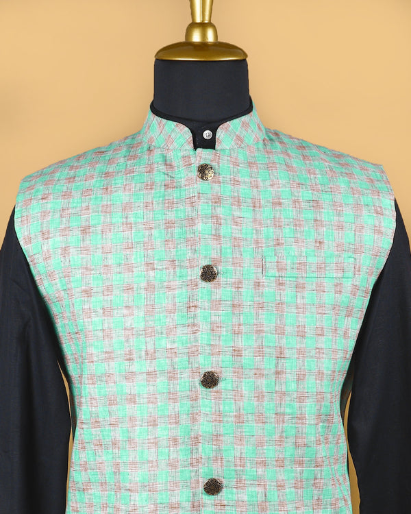 Mint with Brown Checked Linen-Jute Blend Nehru Jacket