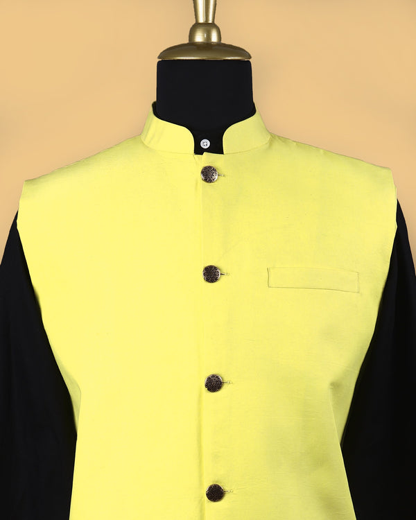 Bright Yellow Premium Cotton Nehru Jacket