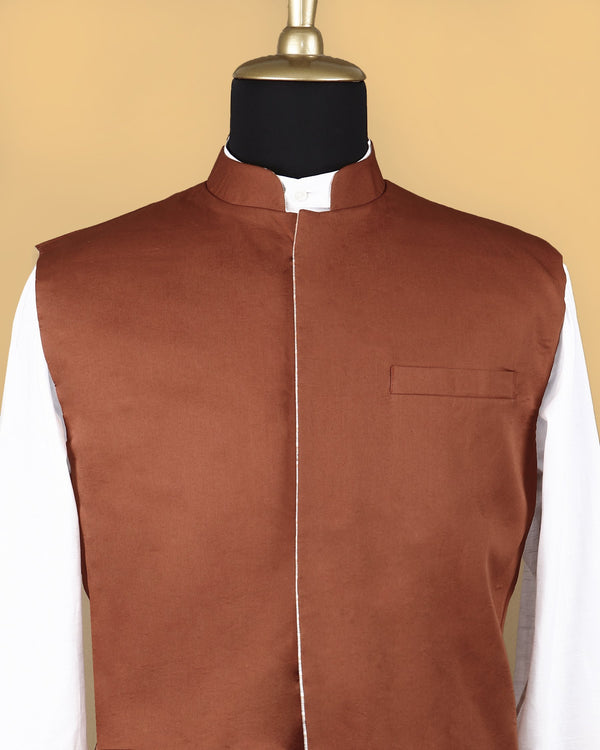 Beige with Orange Checked Linen-Jute Blend Reversible Nehru Jacket