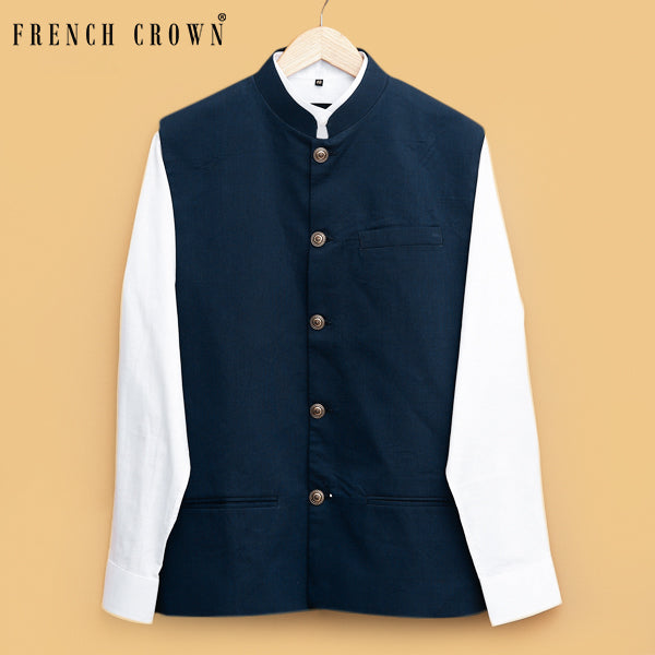 Navy textured Premium Cotton Nehru Jacket