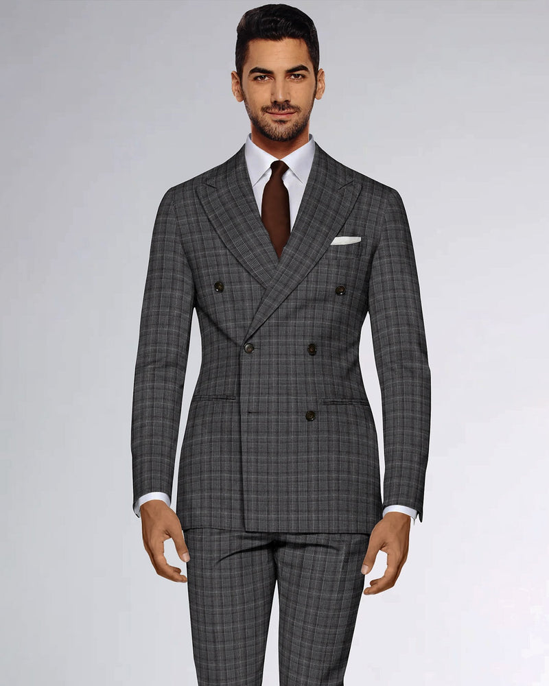 Porpoise Grey Plaid Double Breasted Suit