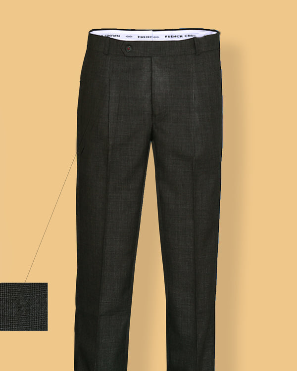 Battleship Grey Checked Pleated Formal Pant