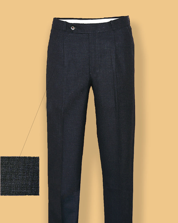 Greyish Blue Checked Regular fit Tere-Rayon Formal Pant