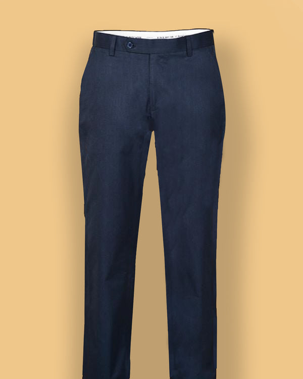 Royal Blue Regular fit Formal Cotton Trouser