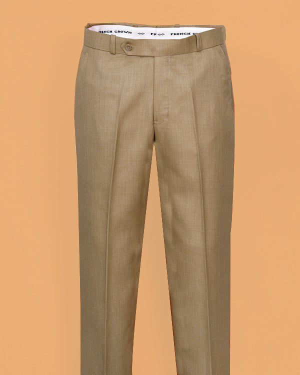 Bread Cream Textured Regular fit Tere-Rayon Formal Pant