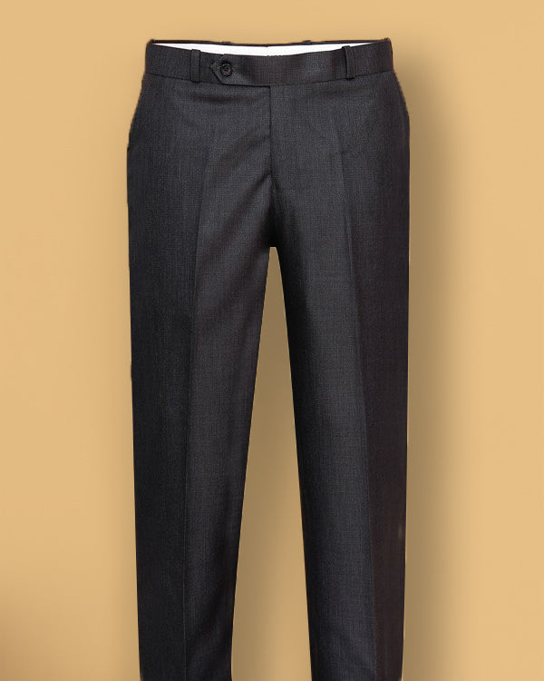 Dark Grey Textured Regular fit Tere-Rayon Formal Pant