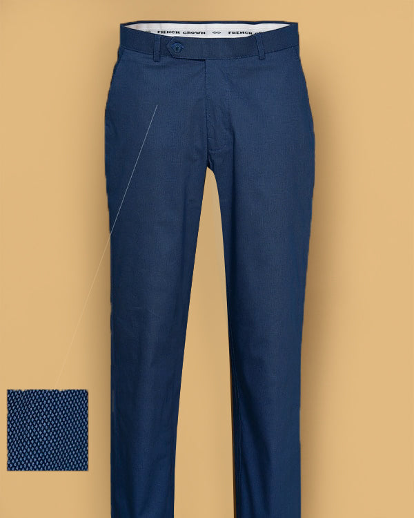 Royal Blue Textured Regular fit Formal Cotton Trouser