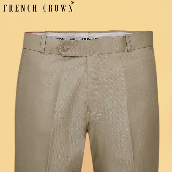 Soft Cream Textured Formal Pant