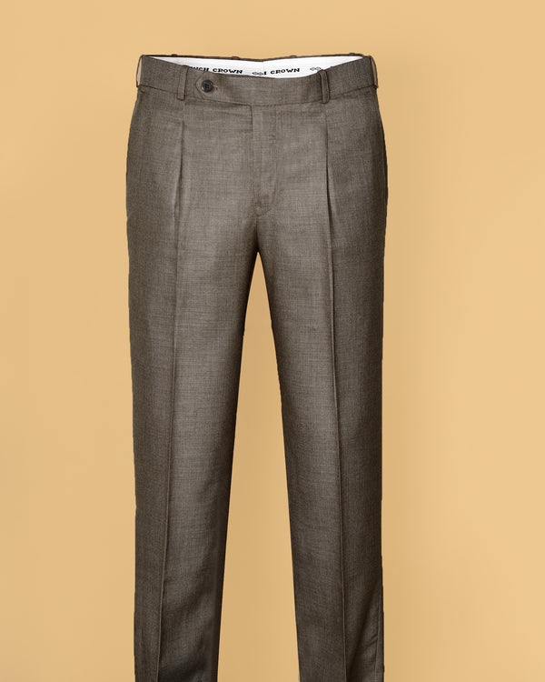 Wood Brown Regular fit Tere-Rayon Formal Pant
