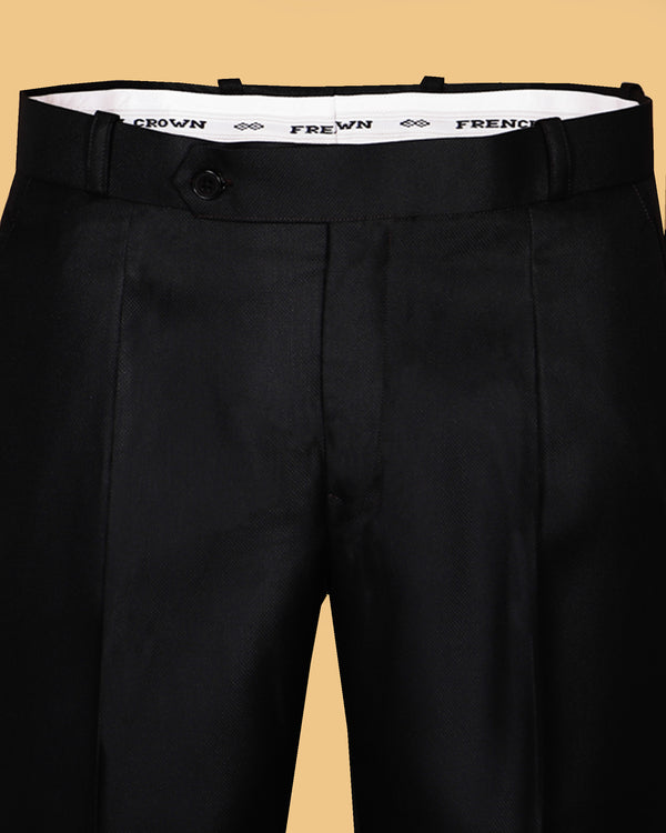 Carbon Black Regular fit Tere-Rayon Formal Pant