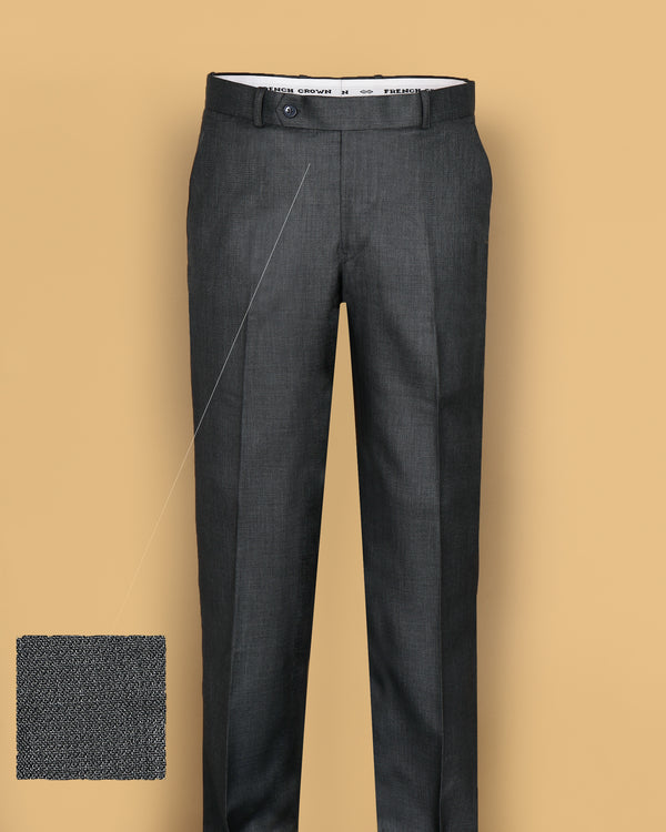 Grey Regular fit Tere-Rayon Formal Pant