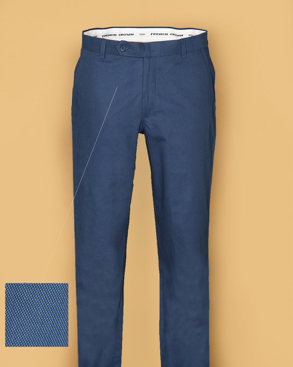 Olympic Blue Regular fit Cotton Trouser