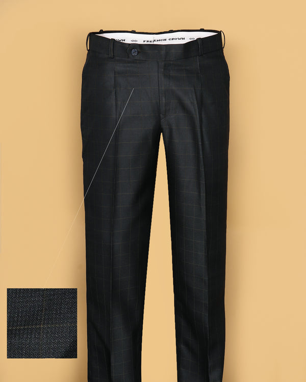 Green Checked Regular fit Tere-Rayon Formal Pant