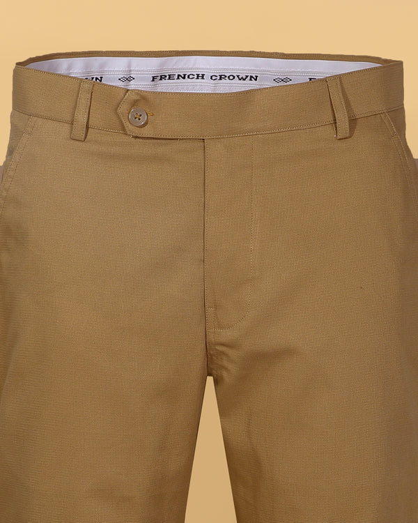 Camel 🐪Khaki Regular fit Cotton Trouser