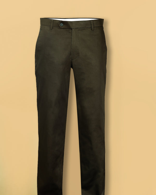 Olive Regular fit Cotton Chino