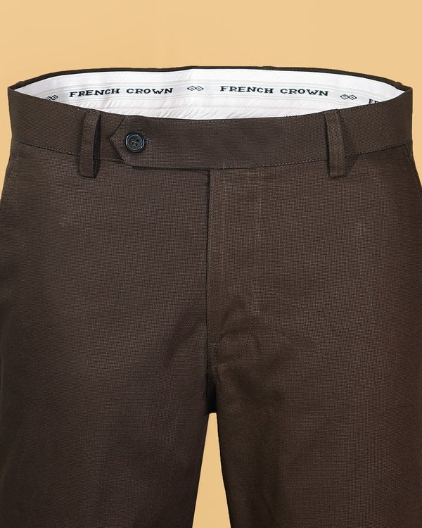 Chocolate Brown Regular fit Cotton Trouser