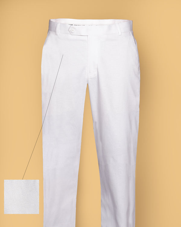 Bright White textured Regular fit Cotton Pant