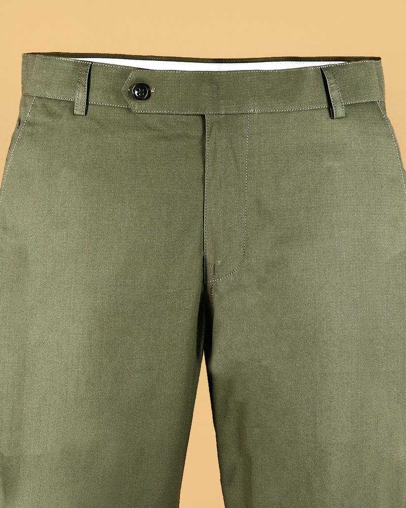 Green Square textured Regular fit Cotton Pant