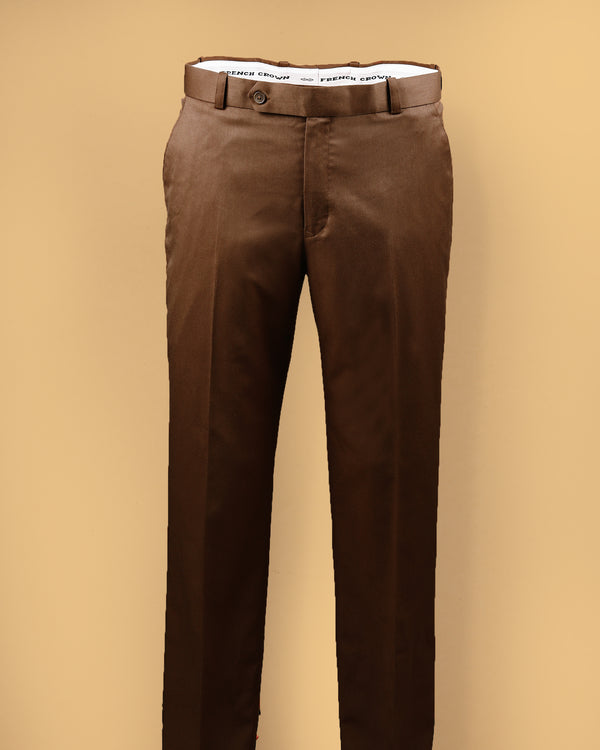 Pecan Brown Regular fit Terry Rayon Formal Pant