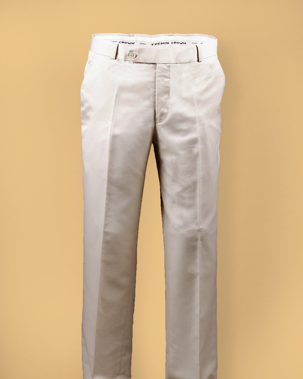 Off white Regular fit Terry Rayon Formal Pant