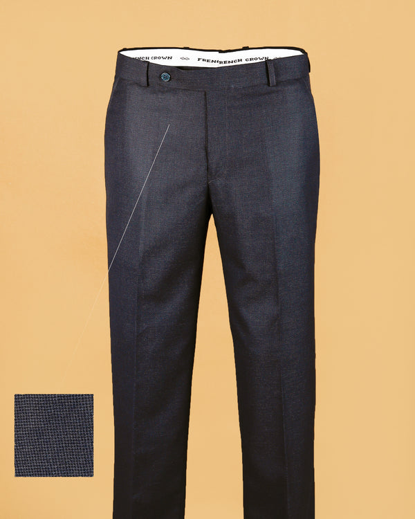 Dark Grey Micro Checked Terry Rayon Formal Pant