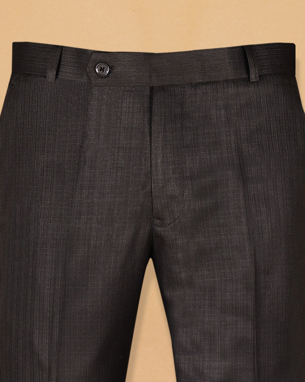 Hickory Brown Micro Textured Terry Rayon Formal Pant