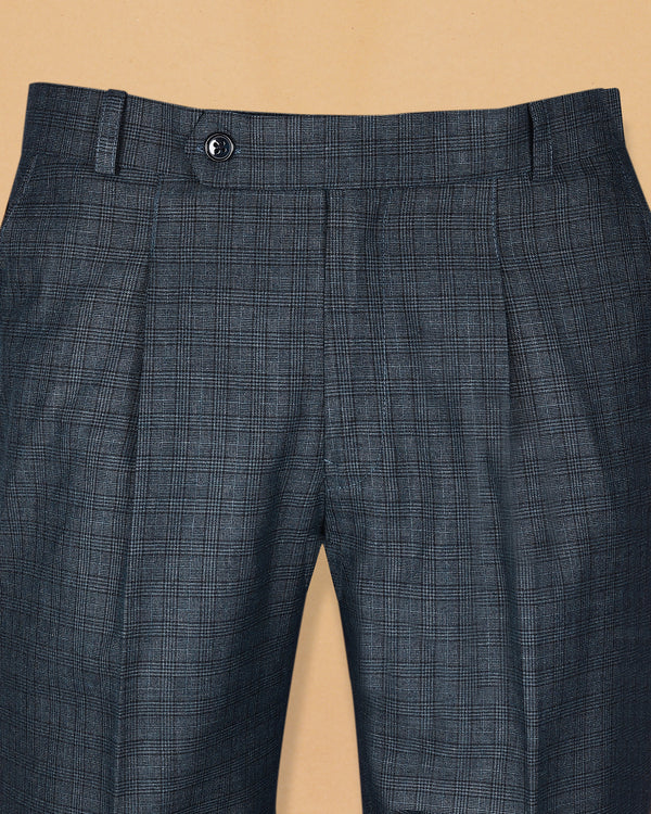 Spruce blue with grey Subtle Checked Terry Rayon Formal Pant