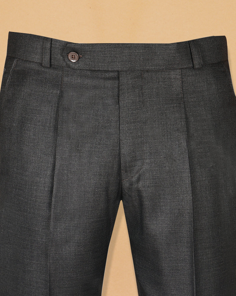 Charcoal Grey Regular fit Terry-Rayon Formal Pant