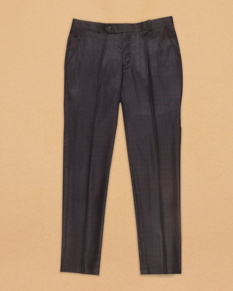 Maroon with Black subtle windowpane Terry-Rayon Formal Pant
