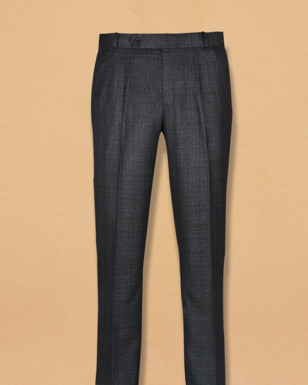 Charcoal with sky Subtle Checked Terry Rayon Formal Pant