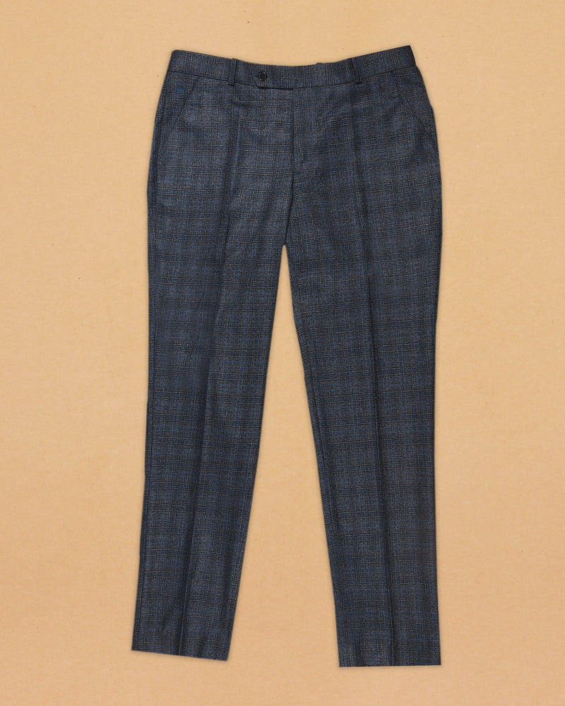 Mid Grey Slubbed texture with Blue Over Windowpane Terry Rayon Formal Pant