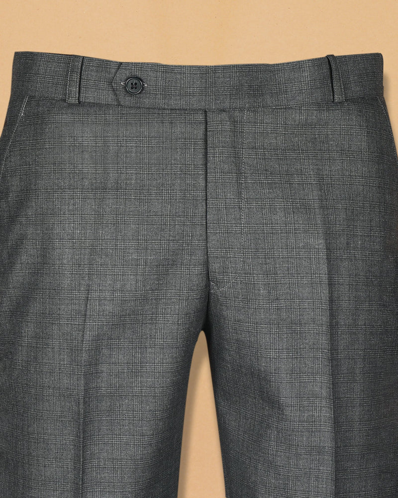 Mid Grey Subtle Glen Terry-Rayon Formal Pant