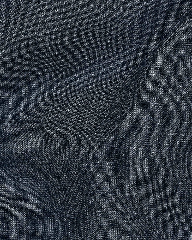 Navy with black Subtle Checked Terry Rayon Formal Pant