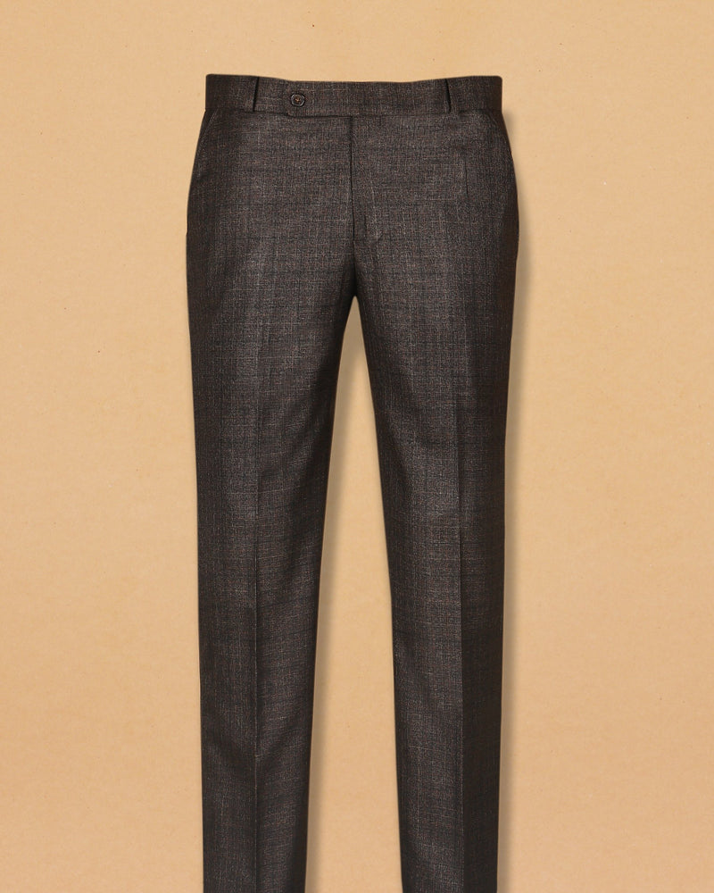 Syrup Brown Subtle Checked Wool Formal Pant
