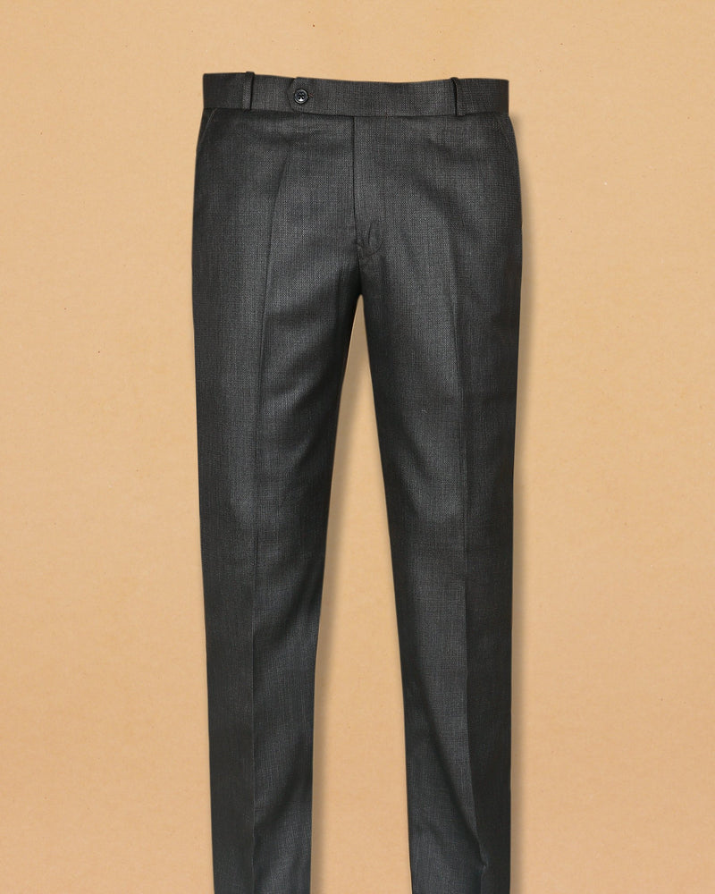 Porpoise Grey textured Terry Rayon Formal Pant