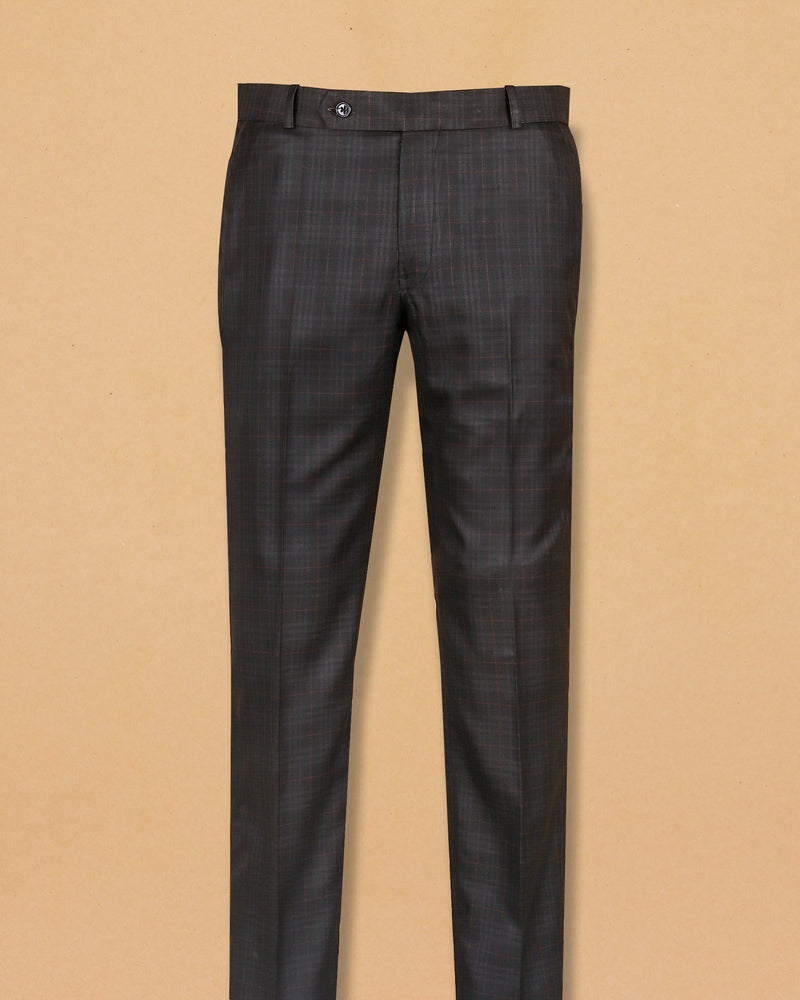 Coffee Brown Multi-checked Terry Rayon Formal Pant
