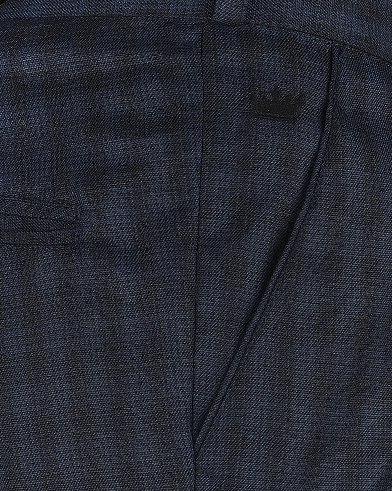 Steel Blue with grey Windowpane Terry Rayon Formal Pant