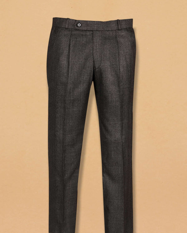 Mid Grey Subtle Checked Terry Rayon Formal Pant