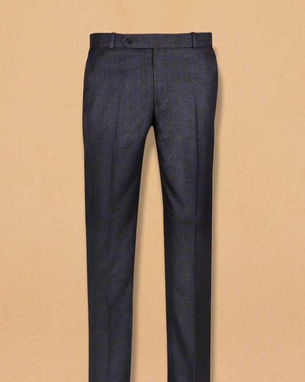 Charcoal Grey with Lavender subtle windowpane Texture Terry-Rayon Formal Pant