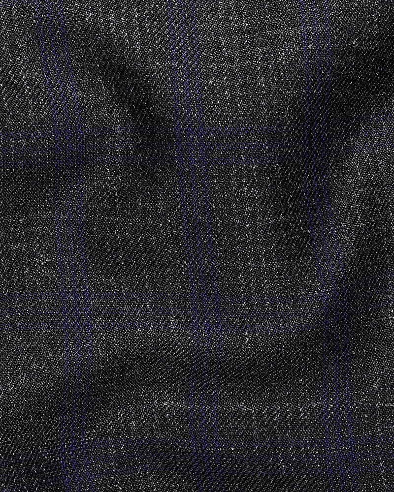 Charcoal Grey with Lavender subtle windowpane Textured Wool Formal Pant