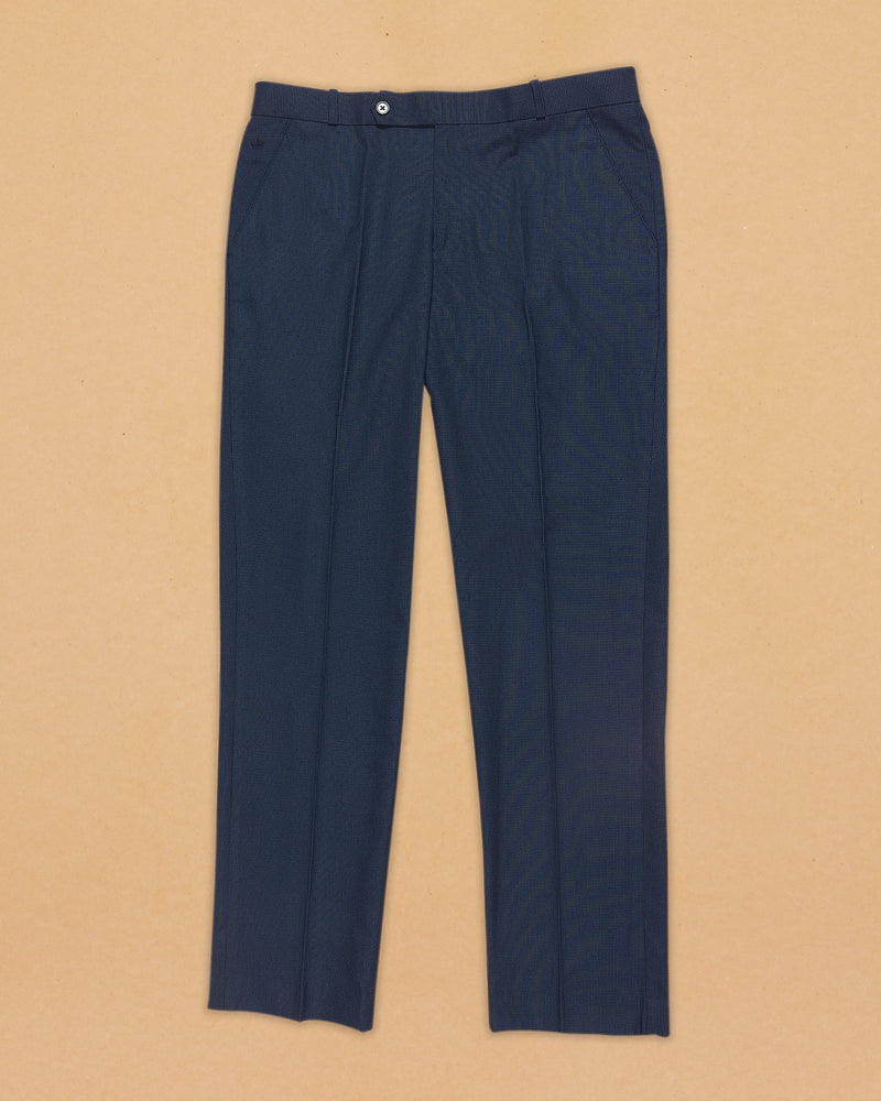 Prussian Blue Micro-houndstooth Terry-Rayon Formal Pant